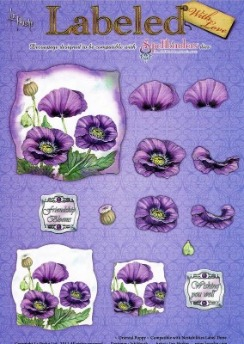 La Pashe Labeled decoupage sheet - Oriental Poppy