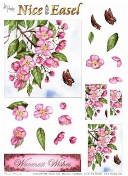 La Pashe Nice & Easel decoupage Sheet - Cherry Blossom