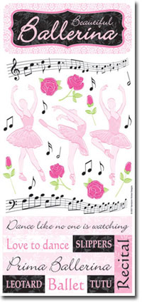 PSCB406 - Beautiful Ballerina Stickers with glittered words.