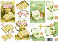 4169434 - Pink roses on the  bible sympathy decoupage sheet