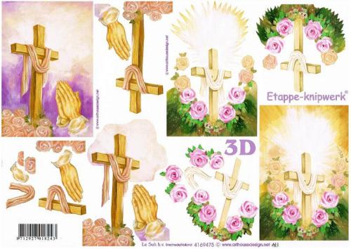 4169475 - Roses with the cross sympathy decoupage sheet