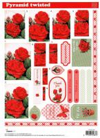PYRSL58 - Red Roses & tags die cut twisted pyramid decoupage sheet