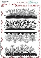 CB08 -  Springtime Edges Unmounted Rubber stamp sheet - A5 - UA5SP0464