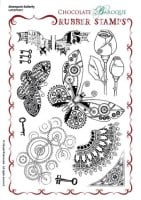 Steampunk Butterfly Unmounted Rubber stamp sheet - A5 - UA5SP0401