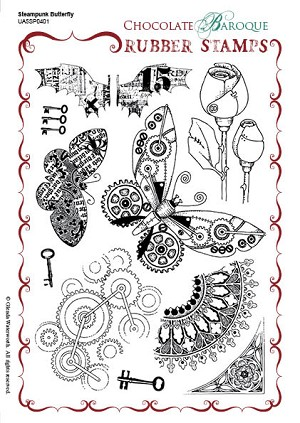 teampunk Butterfly Unmounted Rubber stamp sheet - A5 - UA5SP0401