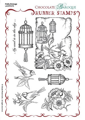 Pretty Birdcage Unmounted Rubber Stamp sheet - A5 - UA5SP0376