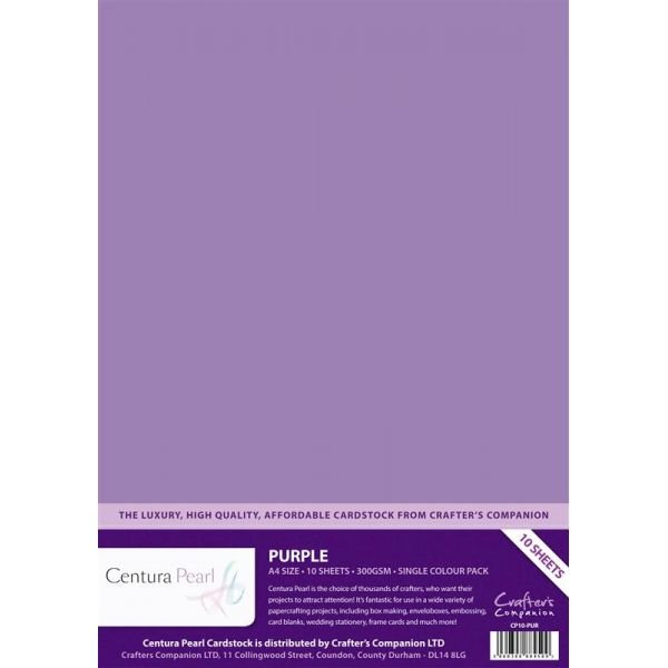 Crafters Companion Purple - Centura Pearl A4 Printable Card Pack (10 sheets