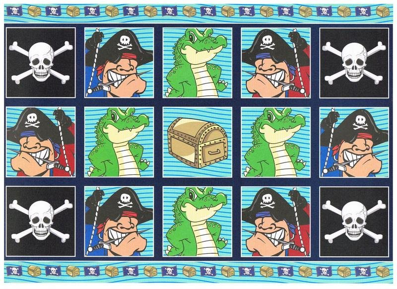 PCT8106 - Pirates paper craft toppers and co-ordinating back ground paper.