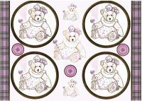 PCT8011 - Lovable Teddies - Lucy die cut paper craft toppers & matching background paper.