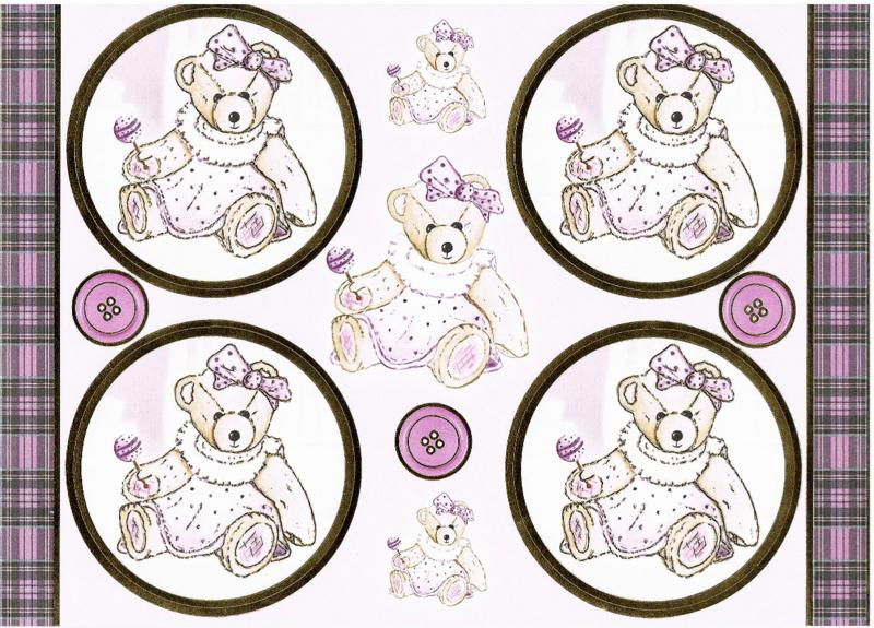 PCT8011 - Lovable Teddies - Lucy die cut paper craft toppers & matching bac