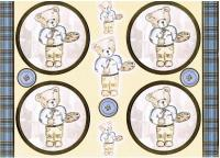 PCT8009 - Lovable Teddies - Tim - Foiled embossed paper craft toppers.