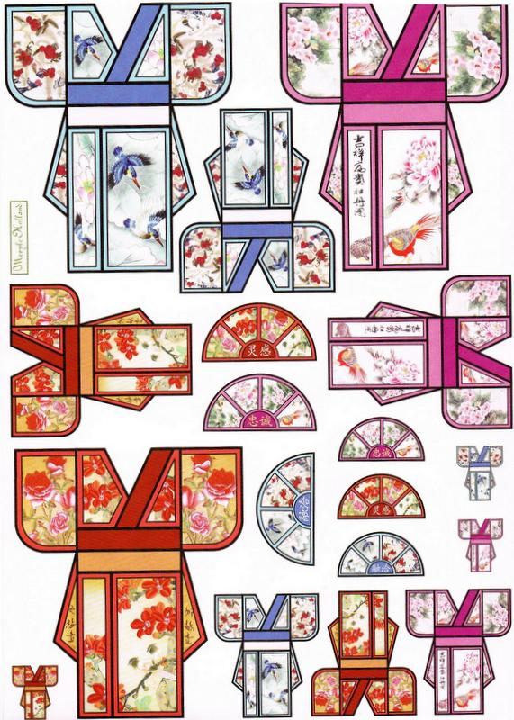 ADH8001 - Kimono Squares of adhesive paper. 3 A4 Sheets