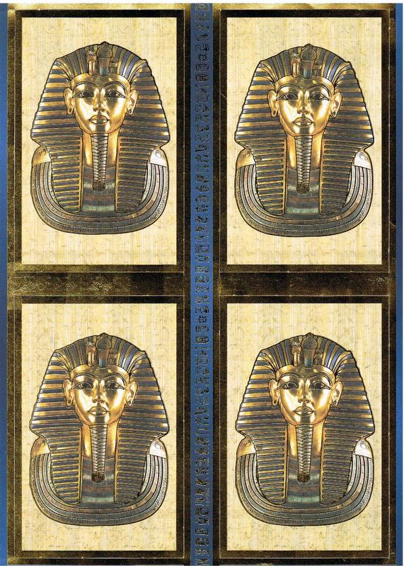 DEC8007 - Tutankhamun Decoupage sheet. Foiled embossed toppers.