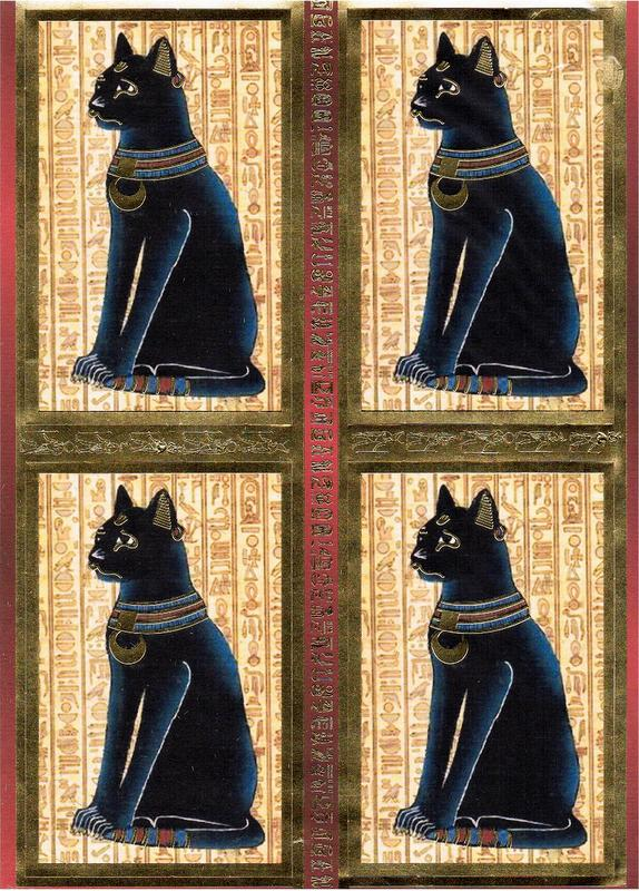 DEC8008 - Egypian Bastet decoupage sheet. Foiled embossed toppers.