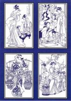 PCT8020 - Oriental Ladies paper craft toppers. Use as they are or colour them using your the colouring medium of your choice.