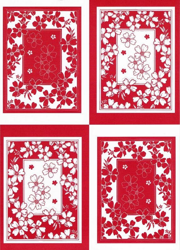 PCT8006/7 - Floral Frames - 2 A4 sheets of die cut paper craft toppers. 1 x