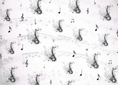 Musical Black & White 300 gsm card. Saxaphones (CRD8081)