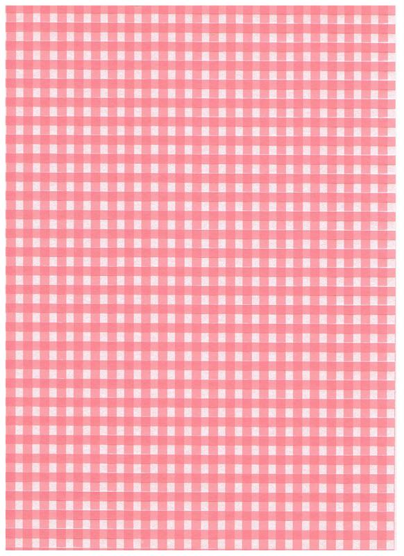 Gingham - Pale pink background with darker pink strips. Quality card.