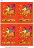 Star Sign classic style decoupage. Sagittarius
