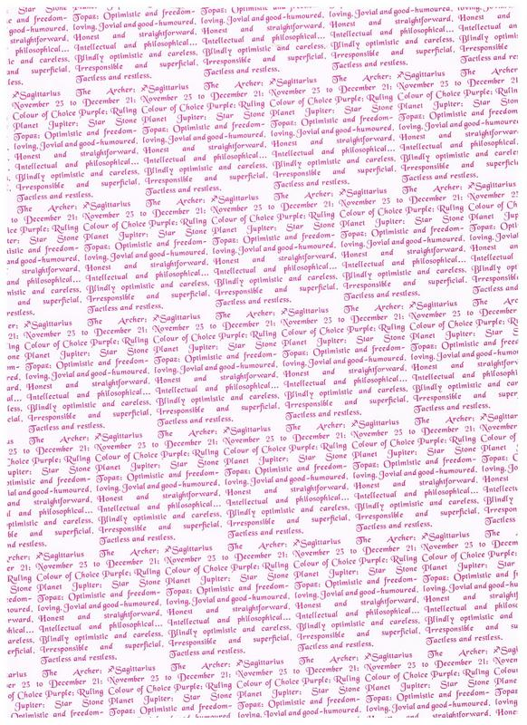 Cream background paper with star sign words for the Sagittarius - November