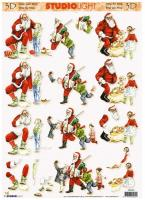 Studio Light 3D Christmas decoupage of Santa Claus.  3 designs. STD460