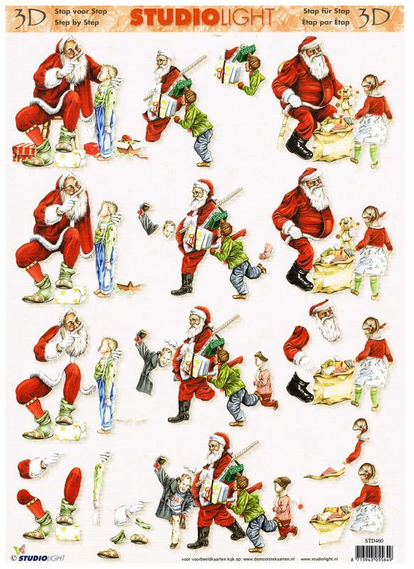 Studio Light 3D Christmas decoupage of Santa Claus.  3 designs. STD460