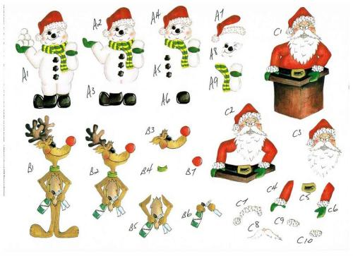 Cheeky Christmas Decoupage with 3 designs. Sheet no 24