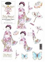 99601 - Kimono Lady in Pink with matching backing paper. Easy to cut out 3D Decoupage.