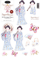 99701 - Kimono Lady in Blue. Easy to cut out 3D decoupage