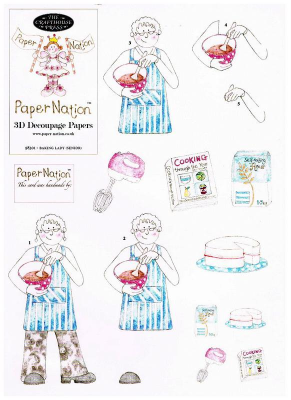 98301- Baking Lady (senior) with matching backing paper. Easy to cut out 3d