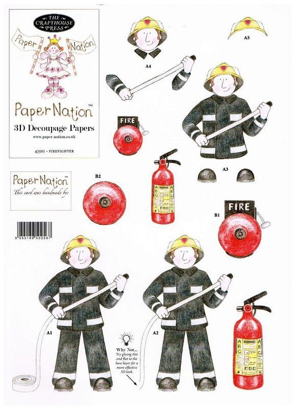 43501 - Fire Fighter. 3D decoupage with backing paper to match.