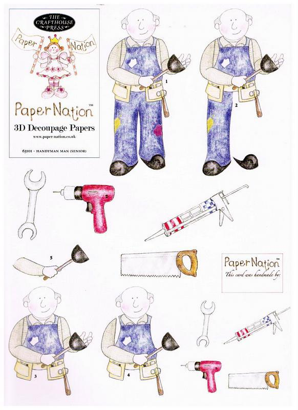 63101 - Handyman (Senior). 3D decoupage with matching backing paper.