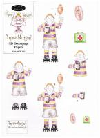 97801 - Rugby Man. 3D decoupage with matching backing paper.