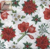 Christmas Flowers white napkins. 25 cm x 25 cm
