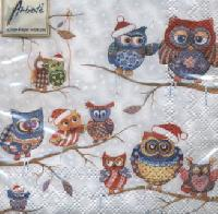 Owls in Winterland napkin. 25 cm x 25 cm
