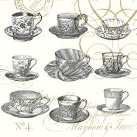 Teaups pewter napkins. 25 cm x 25 cm