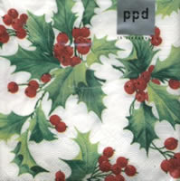 Holly Berries napkin. 25 cm x 25 cm