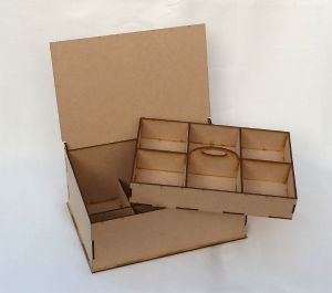 Jewellery/Sewing Box - Size - 275mm x 185mm x 100mm rising to 130mm towards