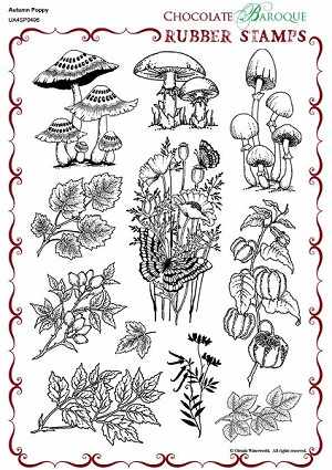Autumn Poppy - UA4SP0496 - A4 un-mounted grey rubber stamp sheet