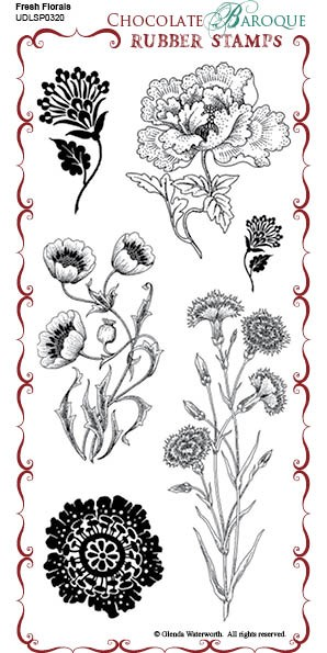 Fresh Florals - UDLSP0320 - Grey rubber un-mounted stamp