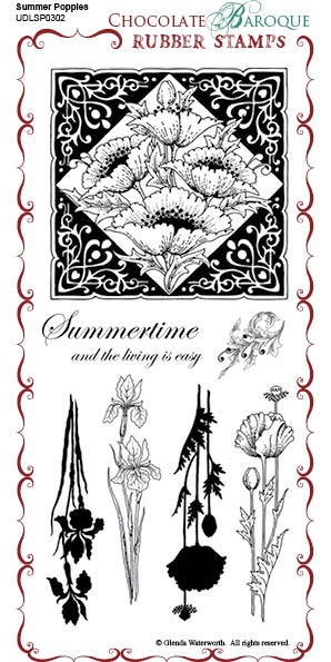 Summer Poppies - UDLSP0302 - Grey un-mounted rubber stamp