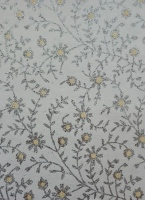 Beautiful Indian glittered paper. White background with silver glittered flower design with yellow dots.  A5. Pack of 10