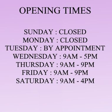 2021 OPENING TIMES