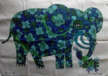 Vintage Oxfam Belinda Lyon Elephant Tea Towel - FREE POSTAGE