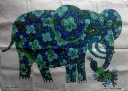 Belinda Lyon Vintage Oxfam Elephant Tea Towel - FREE POSTAGE