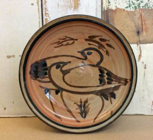 Shallow  Dish with Bird Decoration