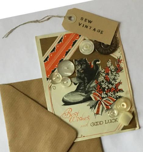 Vintage Buttons on vintage postcard