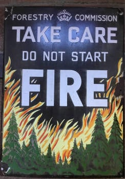 Vintage Metal Enamel  Sign - Forestry Commission