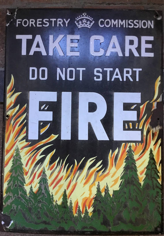 Vintage Metal Enamel  Sign - Forestry Commission