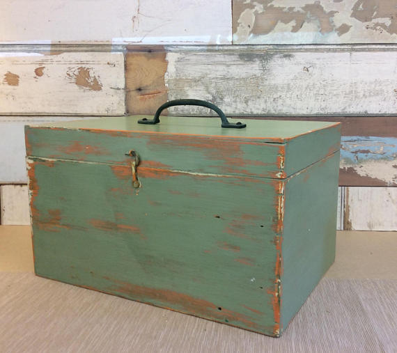 Vintage Upcycled Painted wood box